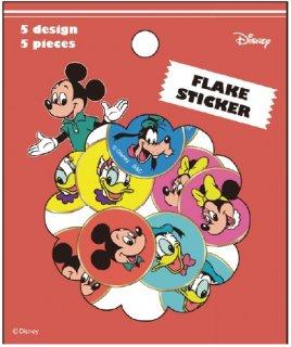 Disney ディズニー ぷっくり 箔入りフレークシール ミッキーアンドフレンズ 5柄各5枚入り