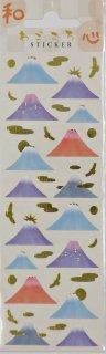 和柄 日本 和紙タイプ紙に金箔入り ミニステッカー 富士山