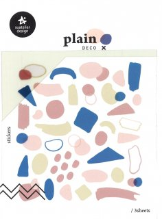 プランデコジャーナルで使える プレインデコ・マーキングステッカー マスキング・手書き風図形 3枚入り プレイン18