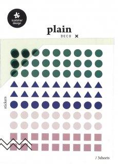 プランデコジャーナルで使える プレインデコ・マーキングステッカー マスキング・丸三角四角小 3枚入り プレイン21