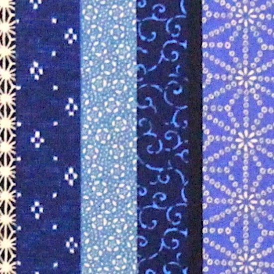 和柄「縦縞模様」青 ファブリックプレート