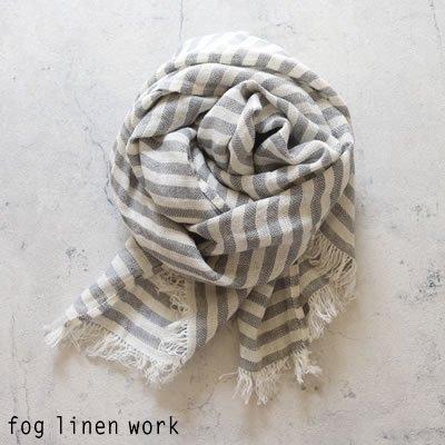 fog linen work(フォグリネンワーク) コーディー スカーフ グレーストライプ