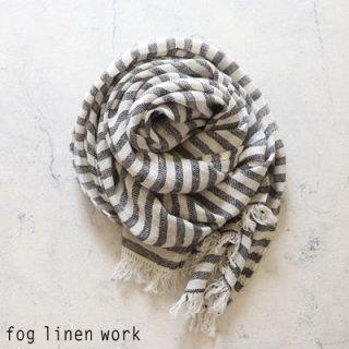 fog linen work(フォグリネンワーク) コーディー スカーフ ブラックストライプ/ COADY SCARF リトアニア リネン LWS232-BWS
