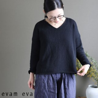 evam eva(エヴァム エヴァ)【2019ss新作】 コットンコイルVネックプルオーバー ブラック / cotton coil V neck pullover E191K050