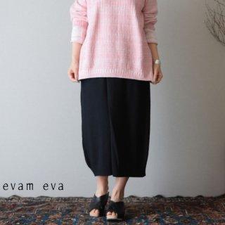 evam eva(エヴァム エヴァ)【2019ss新作】 ダブルカバーリング タックスカート スミ / double covering tuck skirt E191K098