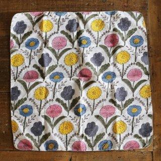【ゆうパケット可】鹿児島 睦(かごしま まこと) ウッドブロックプリントハンカチ 花4種 カラー