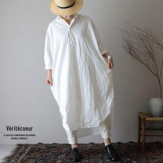 Veritecoeur(ヴェリテクール)【2019ss新作】 コットンダンプロングシャツ ホワイト / VC-1891【送料無料】