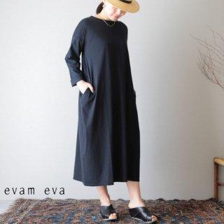 evam eva(エヴァム エヴァ)【2019ss新作】 カットソー クロス ロングワンピース ブラック / cut&sew cloth long one-piece E191C112