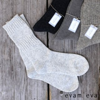 evam eva(エヴァム エヴァ)【2点までゆうパケット可】 ウールカシミヤリブ ソックス 靴下 / wool cashmere rib socks E193Z111