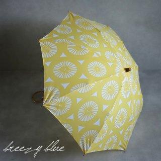 breezy blue ブリージーブルー 晴雨兼用 UV加工 注染 折りたたみ日傘 イエローレモン
