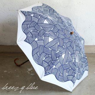breezy blue ブリージーブルー 晴雨兼用 UV加工 注染 折りたたみ日傘 ナミモンヨウ