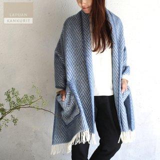 LAPUAN KANKURIT ラプアン・カンクリ ポケット付きショール IIDA Blue ブルー