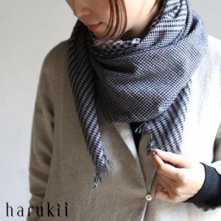 harukii カシミヤコットン変りギンガムストール S ネイビー 【送料無料】