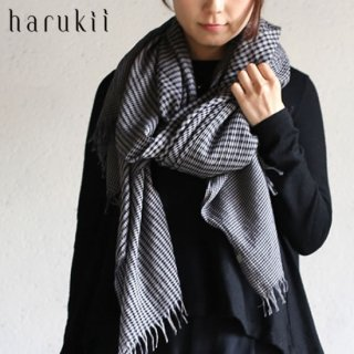 harukii カシミヤコットン変りギンガムストール L  ネイビー【送料無料】