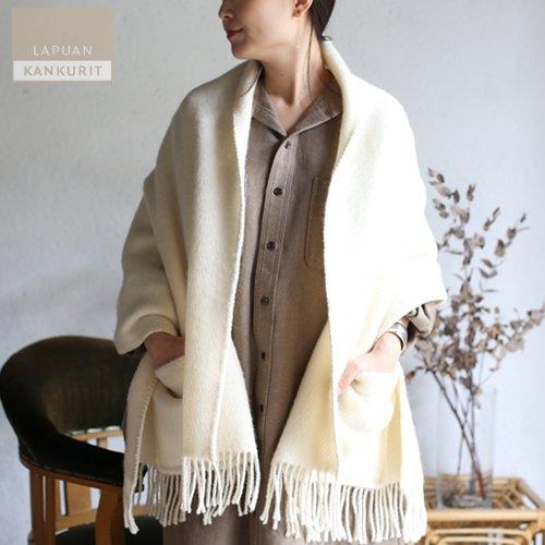 LAPUAN KANKURIT ラプアン・カンクリ ポケット付きショール UNI white ホワイト