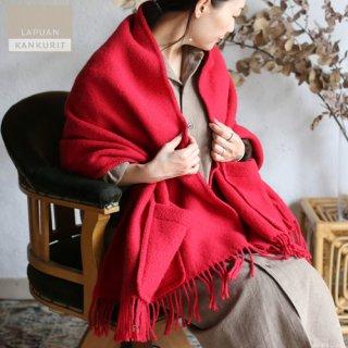 LAPUAN KANKURIT ラプアン・カンクリ ポケット付きショール UNI  red レッド 【送料無料】