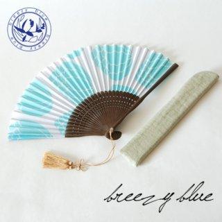 breezy blue ブリージーブルー 注染 扇子 ロータス