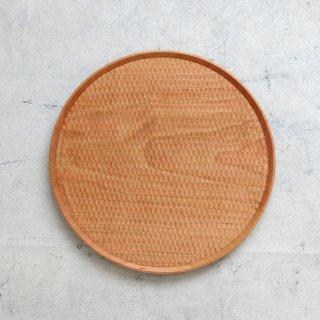 高塚和則 木工房玄 一人膳 丸盆 はちのす彫り (中・φ280mm)