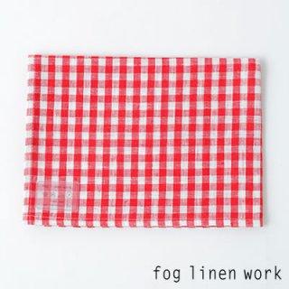 【3点までゆうパケット可】fog linen work(フォグリネンワーク) リネンキッチンクロス レッドホワイトチェック/ランチョンマット キッチンタオル LKC001-REWC