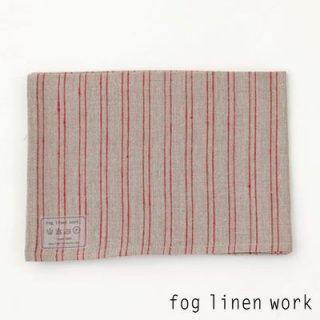 【3点までゆうパケット可】fog linen work(フォグリネンワーク) リネンキッチンクロス ナチュラルレッドストライプ/ランチョンマット キッチンタオル LKC001-NRST