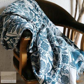 LAPUAN KANKURIT ラプアン・カンクリ KUKAT Blanket (W140×H240) white-petroleum / ブランケット ブルーグリーン ペトロリウム