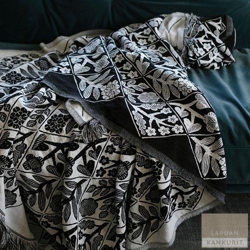 LAPUAN KANKURIT ラプアン・カンクリ KUKAT Blanket (W140×H240) white-black / ブランケット ブラック