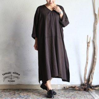 tamaki niime(タマキ ニイメ) 玉木新雌 basic wear fuwa-T all(長袖)cotton 100% / フワT オール Vネック ブラウン コットン100%