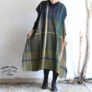 tamaki niime(タマキ ニイメ) 玉木新雌 only one fuwa-T long V wool70% cotton30% FTL_W16 / オンリーワン フワT ロング