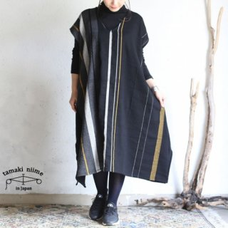 tamaki niime(タマキ ニイメ) 玉木新雌 only one fuwa-T long V wool70% cotton30% FTL_W14 / オンリーワン フワT ロング