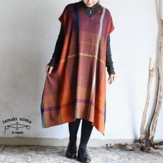tamaki niime(タマキ ニイメ) 玉木新雌 only one fuwa-T long V wool70% cotton30% FTL_W20 / オンリーワン フワT ロング