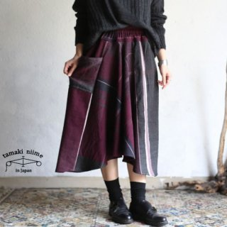 tamaki niime(タマキ ニイメ) 玉木新雌 only one chotan skirt wool CTN_W13 wool70% cotton30% チョタンスカート ウール