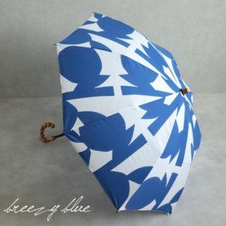 breezy blue ブリージーブルー 晴雨兼用 UV加工 注染 折りたたみ日傘 ブルーリーフ 【送料無料】
