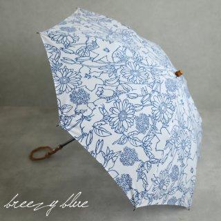 breezy blue ブリージーブルー 晴雨兼用 UV加工 注染 折りたたみ日傘 ブルーフラワー 【送料無料】
