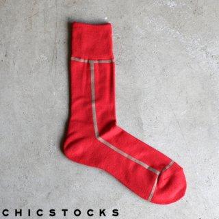 【2点までゆうパケット可】CHICSTOCKS シックストックス CH-002 <LINE> Carmine×Kurumi / ソックス 靴下