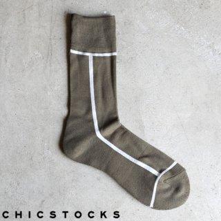 【2点までゆうパケット可】CHICSTOCKS シックストックス CH-002 <LINE> Uguisu×Off White / ソックス 靴下