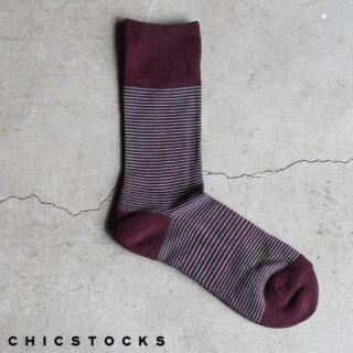 【2点までゆうパケット可】CHICSTOCKS シックストックス CH-008 <STRIPES> 85×79 Burgundy×Sage Blue / ソックス 靴下