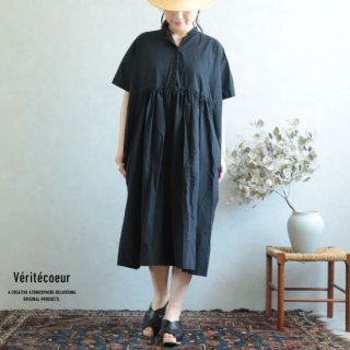 Veritecoeur(ヴェリテクール)【2019ss新作】 切替ギャザーワンピース ブラック / VC-1930