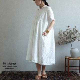 Veritecoeur(ヴェリテクール)【2019ss新作】 切替ギャザーワンピース ホワイト / VC-1930