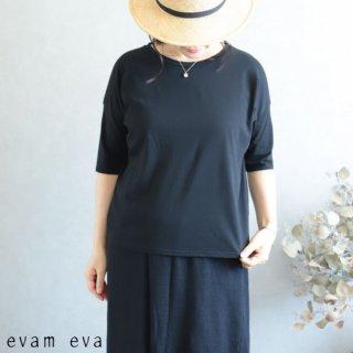 evam eva(エヴァム エヴァ)【2019ss新作】 カットソー プルオーバー ブラック / cut&sew pullover E191C146