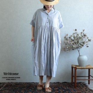 Veritecoeur(ヴェリテクール)【2019ss新作】 切替ギャザーワンピース ストライプ / VC-1930【送料無料】