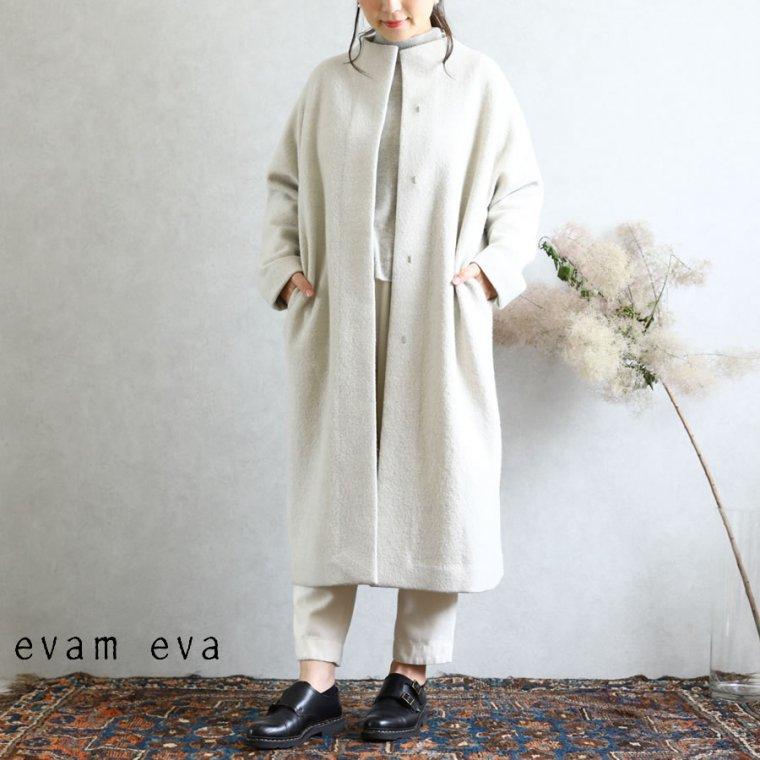 evam eva(エヴァム エヴァ)【2019aw新作】 プレスウールロングコート アイボリー