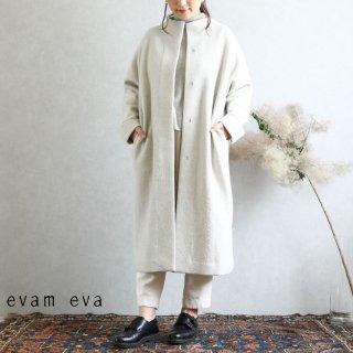 evam eva(エヴァム エヴァ)【2019aw新作】 プレスウールロングコート アイボリー / press wool long coat ivory E193K044