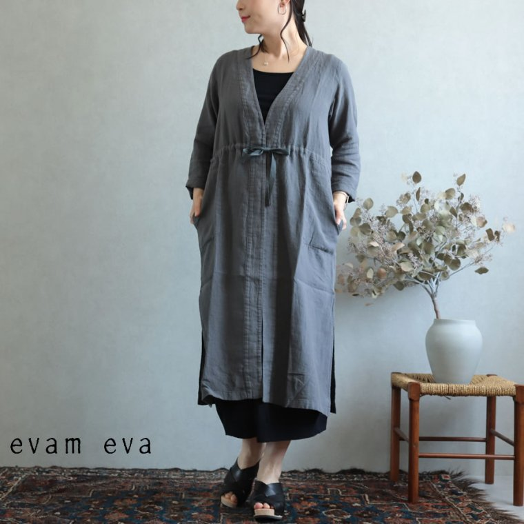 evam eva(エヴァム エヴァ)【2019ss新作】 リネンローブ ブルーグレー