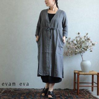 evam eva(エヴァム エヴァ)【2019ss新作】 リネンローブ ブルーグレー / linen robe E191T176