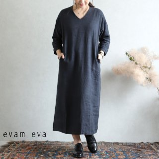 evam eva(エヴァム エヴァ) vie【2019aw新作】 ライジングリネン ワンピース スミ / raising linen one-piece  sumi V193T917