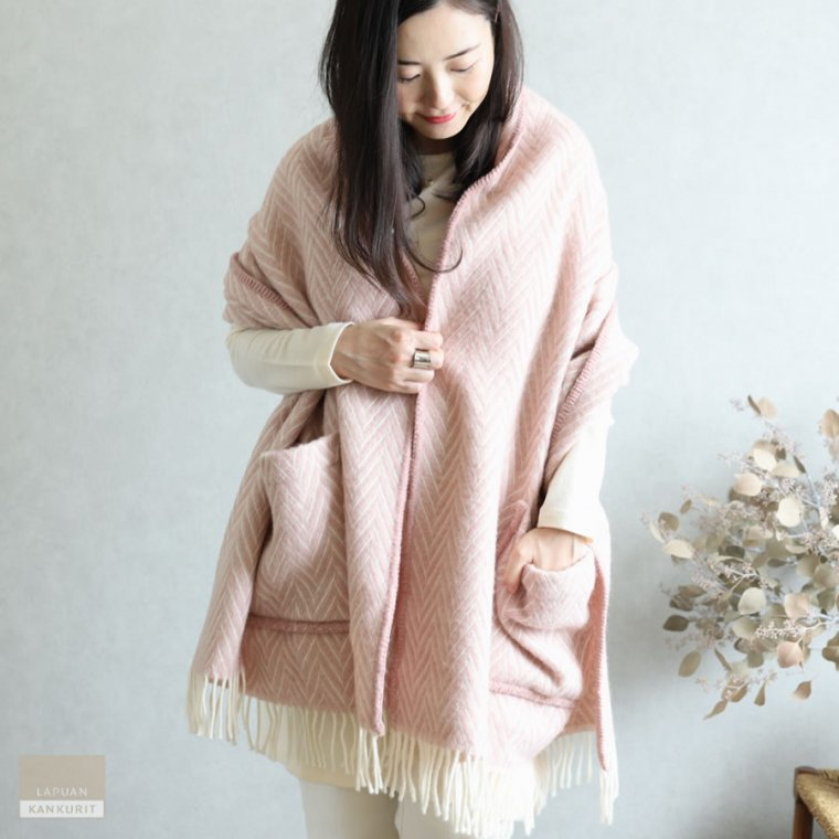 LAPUAN KANKURIT ラプアン・カンクリ ポケット付きショール IIDA rose-white ピンクホワイト