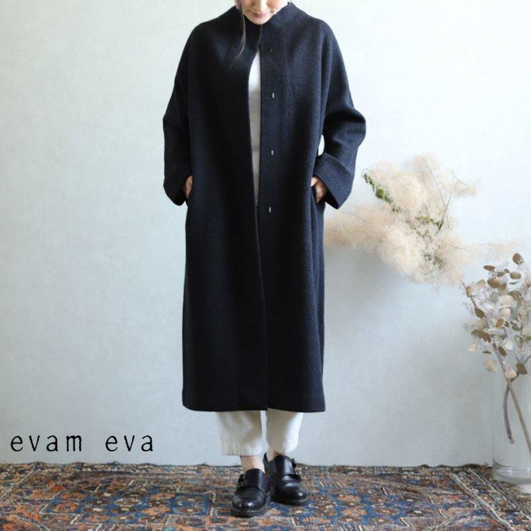 evam eva(エヴァム エヴァ)【2019aw新作】 プレスウールロングコート チャコール