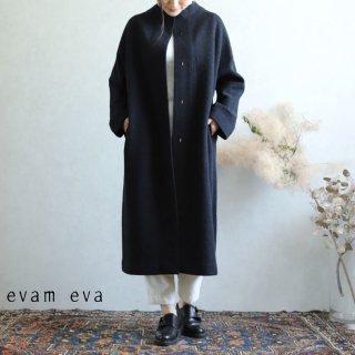 evam eva(エヴァム エヴァ)【2019aw新作】 プレスウールロングコート チャコール / press wool long coat charcoal E193K044