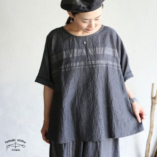 tamaki niime(タマキ ニイメ) 玉木新雌  basic wear fuwa t HALF gray cotton 100% / フワT ハーフ グレー コットン100%
