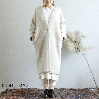 evam eva(エヴァム エヴァ)【2019aw新作】 ウールツイードローブコート アイボリー / wool tweed robe coat ivory  E193T099